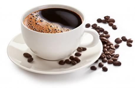 咖啡,杯,粮食,飞碟,白色背景