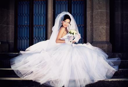女孩,美丽,新娘,礼服,婚礼