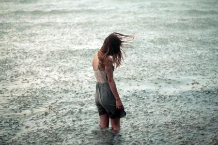 女孩,雨,寂寞,水