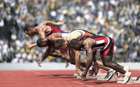 跑步,冲刺,田径,运动鞋,开始