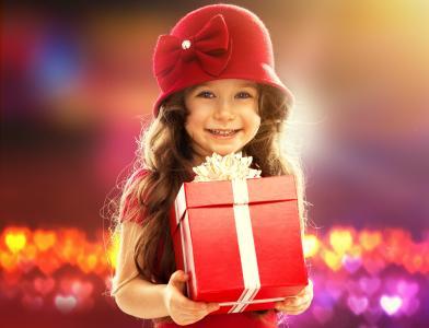 女孩,孩子,礼物,微笑,心情,欢乐,散景