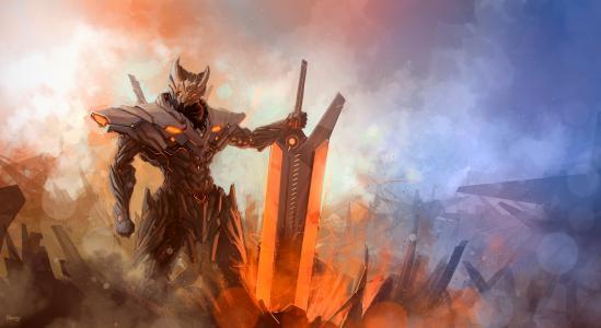 雾,战士,盔甲,剑,能源,高科技