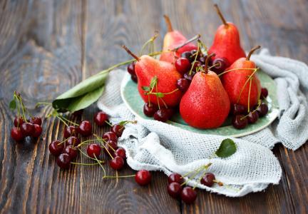 梨,樱桃,静物