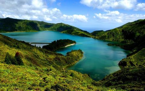湖,葡萄牙,天空,岛,圣米格尔