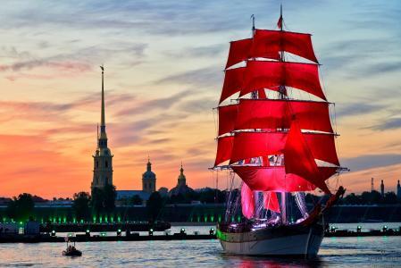 猩红色风帆,圣彼得堡,帆船