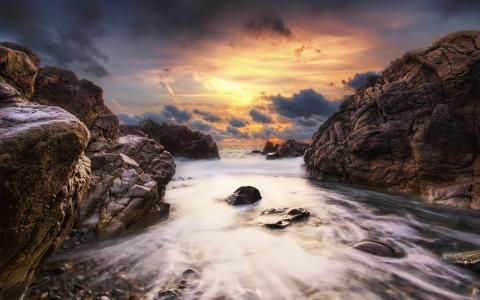 日落,石头,云彩,海洋,天空