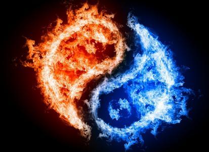 阴阳,符号,东方哲学,火,水