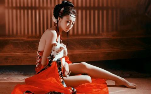 女孩,亚洲人,和服,狗