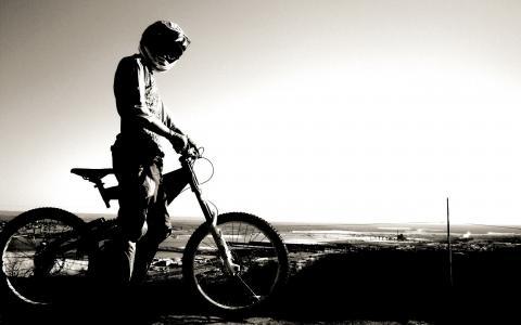 自行车,头盔,骑自行车,天空