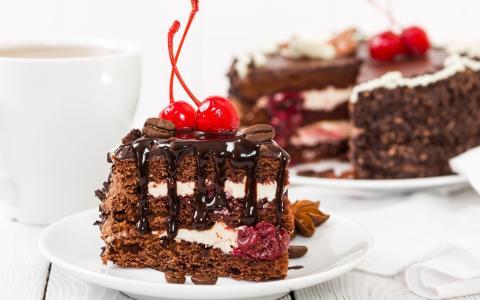 美味,蛋糕,樱桃
