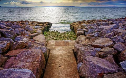 自然,海,路径,石头,云