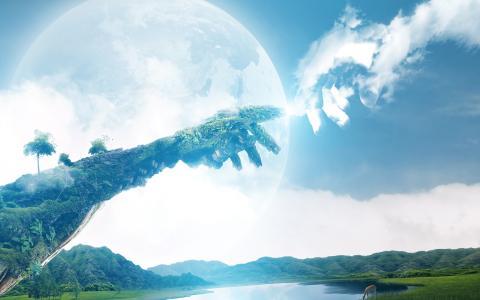 自然,天空,地球,手