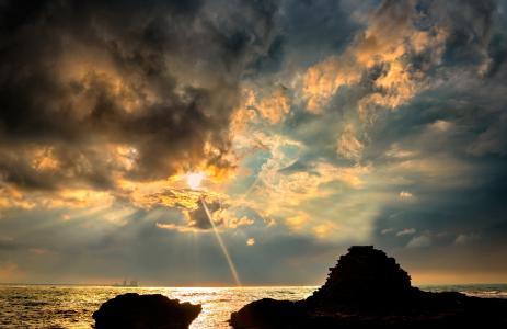 波浪,海,云,船,天空