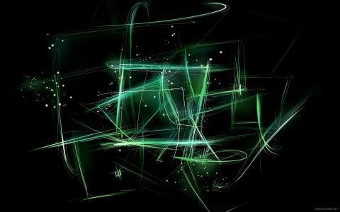 发光的绿色,线条