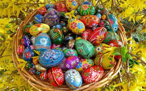复活节,篮子,复活节彩蛋