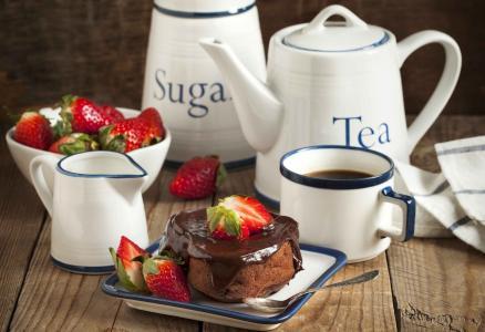 蛋糕,浆果,草莓,茶