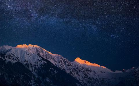 银河系,山脉,山峰,星星