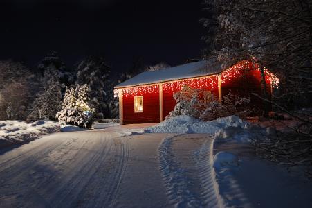 性质,雪,灯,冬季,新年快乐,房子,假期