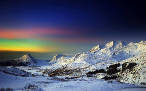 山,雪,天空,北极光