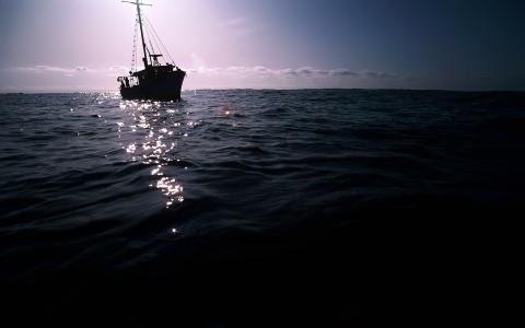 黑暗,小船上,海,壁纸