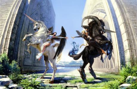 女孩,男孩,黑发,金发,独角兽,摩羯座,马,天使,翅膀,白,黑色,墙,幻想,艺术