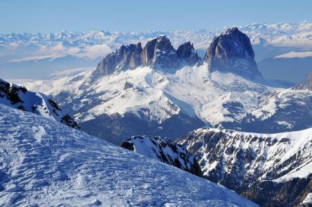 全景,山,雪山,雪景,风景,冬季景色,坡度