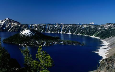 自然,景观,天空,大湖,火山口湖,火山口湖国家公园,俄勒冈,克雷特湖,奥尔根,岛