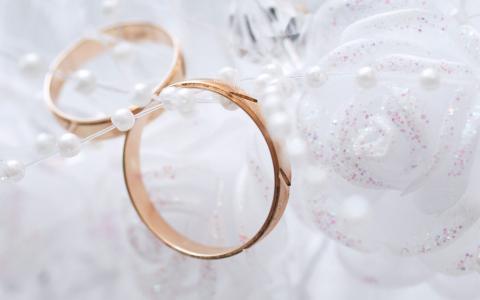 雪白,金色,戒指,面纱