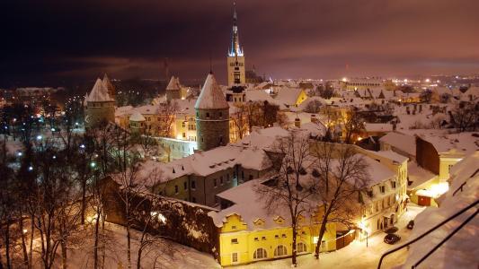 塔林,冬天,晚上
