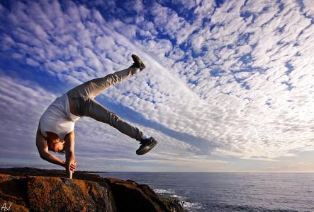 家伙,岩石,天空,海