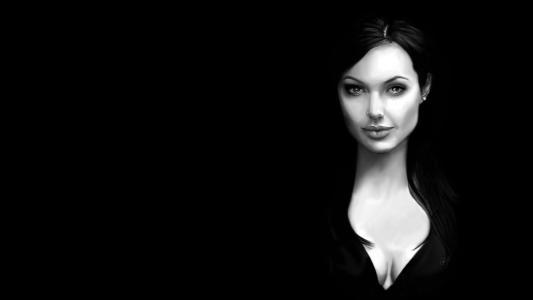 安吉丽娜朱莉Angelina Jolie女演员Lara Croft古墓丽影Lara Croft角色女主角画像女孩美容视觉微笑嘴唇亲爱的背景黑色黑色