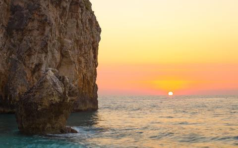 海,岩石,日落