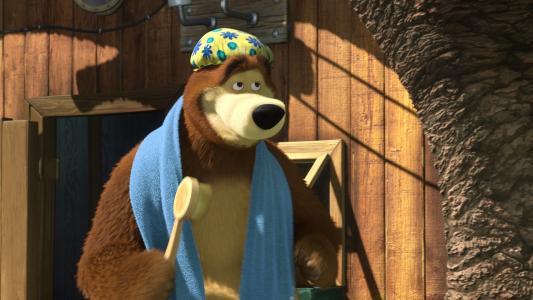 玛莎和熊,熊,刷子,毛巾