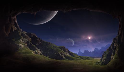 洞穴,岩石,草,星星,行星