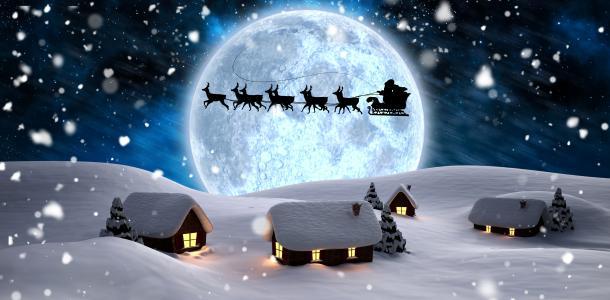 圣诞老人,剪影,鹿,新年,夜,月亮,灯,雪花,树,冬天,雪,房子,渲染,雪橇