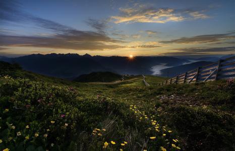 花,山,围栏,日出,太阳