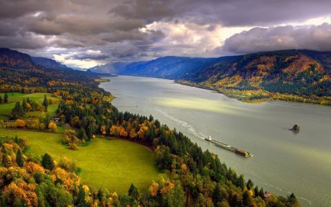 北美,河,哥伦比亚,秋天,11月,天空,云,海岸