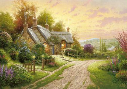 平房,夏天,鲜花,路,图片,金凯德,绘画,托马斯金凯德