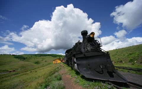 火车,机车,景观,云