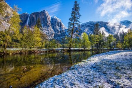 景观,自然,山,河,瀑布,树木,雪,优胜美地,加州