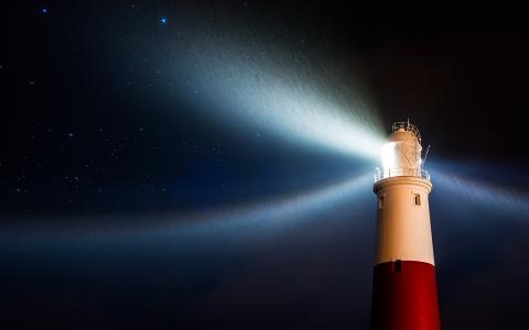 晚上,灯塔,雨,光,星星