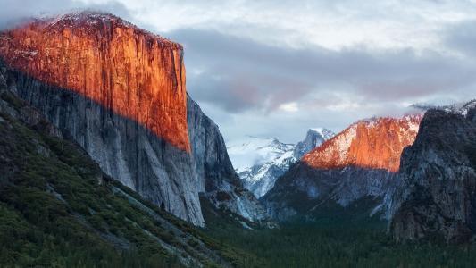 Mac OS,壁纸,山,光,太阳