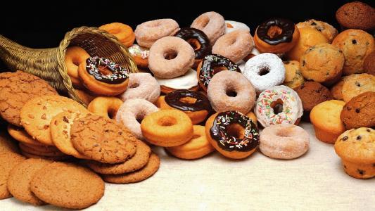 饼干,甜甜圈,甜甜圈,蛋糕,糖果,很多