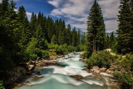 Krimmler Ache河,奥地利,阿尔卑斯山,Krimler-Ahe河,奥地利,阿尔卑斯山,河流,森林