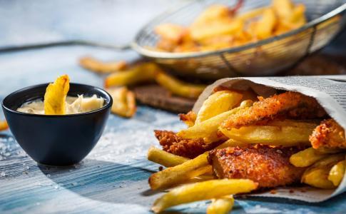 鱼,土豆,薯条,酱