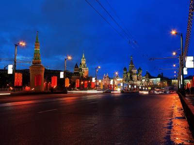 莫斯科,桥梁,道路,俄罗斯,Bolshoy Moskvoretsky,夜