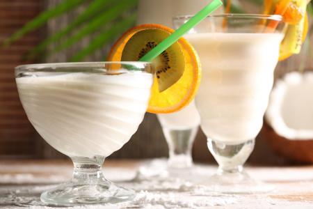 牛奶,鸡尾酒,管,猕猴桃,橙子
