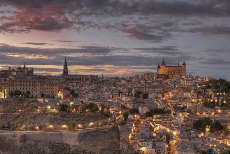 晚上,西班牙,托莱多,灯光,暮光之城