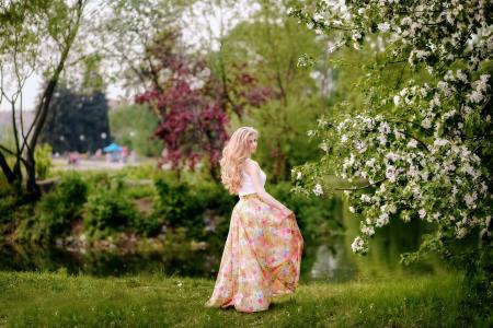 女孩,春天,美容,绽放