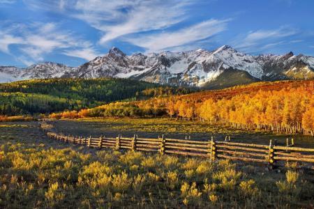 篱笆,山,天空,云,森林